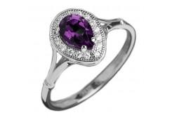 Серебряные кольца с аметистом 104185