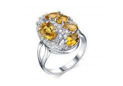 Кольцо из серебра 925 пробы с цитрином