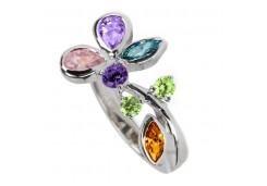 Кольцо из серебра 925 пробы с полудрагоценными камнями