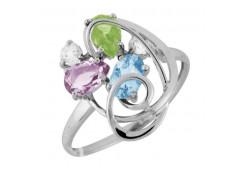 Серебряное кольцо с полудрагоценными камнями