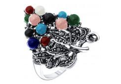 Женские кольца из серебра, вставка микс (полудраги) 124960