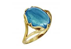 Кольцо из желтого золота 585 пробы с бирюзой