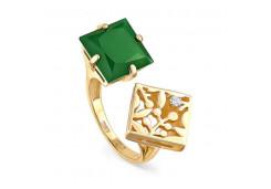 Кольцо из желтого золота с ониксом
