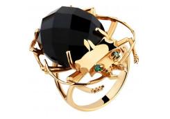 Женские кольца из золота, вставка оникс 116625