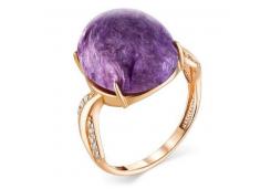 Кольца из золота, вставка чароит 110386