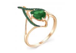 Кольца из золота, вставка агат зеленый 100821