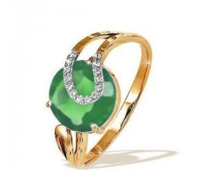 Кольцо из красного золота 585 пробы с хризопразом