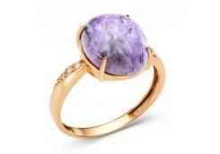 Кольца из золота, вставка чароит 110104