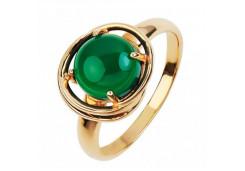 Кольца из золота, вставка агат зеленый 107423
