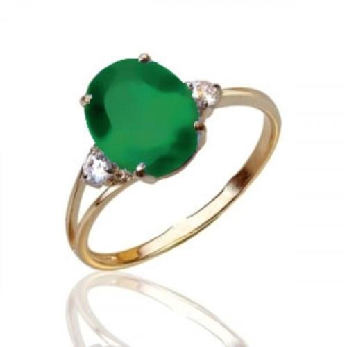 Кольцо из красного золота 585 пробы с агатом зеленым