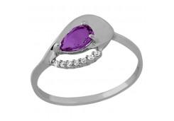 Женские кольца из серебра, вставка кварц 129023