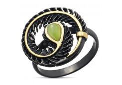 Серебряное кольцо с позолотой с нефритом