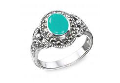 Кольцо из серебра 925 пробы с амазонитом