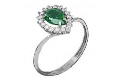 Кольцо из серебра 925 пробы с агатом зеленым
