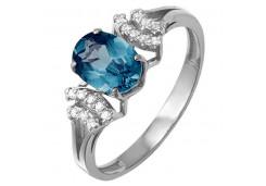 Женские кольца из серебра, вставка кварц 124321