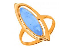 Серебряное кольцо с позолотой с бирюзой