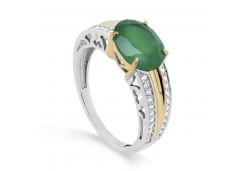 Серебряное кольцо с позолотой с ониксом
