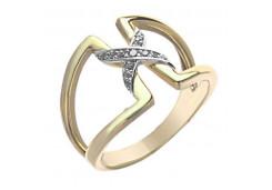 Кольцо из желтого золота с фианитом