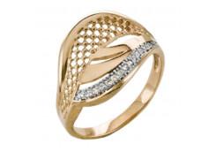 Золотые кольца с белыми фианитами 131780