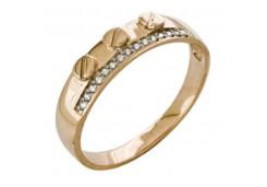 Золотые кольца с белыми фианитами 131783