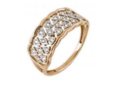 Золотые кольца с белыми фианитами 131796