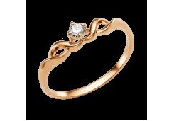 Золотые кольца с белыми фианитами 132623