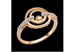 Золотые кольца с белыми фианитами 132625