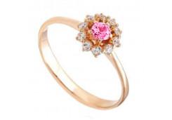 Женские золотые кольца с цветными фианитами 132398