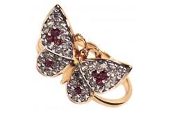 Женские золотые кольца с цветными фианитами 117897