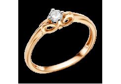 Золотые кольца с белыми фианитами 132621
