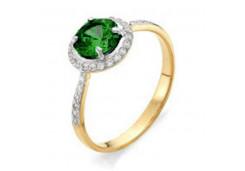 Женские золотые кольца с цветными фианитами 117402