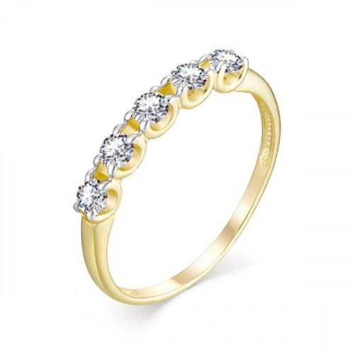 Кольцо из желтого золота 585 пробы с фианитом