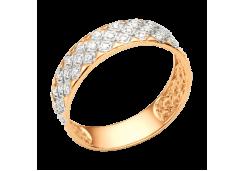 Золотые кольца с белыми фианитами 132603