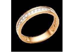 Золотые кольца с белыми фианитами 132604