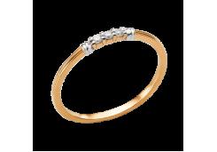 Золотые кольца с белыми фианитами 103098