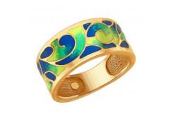 Серебряное кольцо с позолотой с эмалью