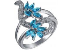 Женские кольца из серебра с цветными фианитами 129540