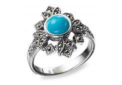 Кольцо из серебра 925 пробы с бирюзой
