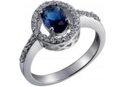 Женские кольца из серебра с цветными фианитами 129786