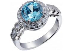 Женские кольца из серебра с цветными фианитами 39734