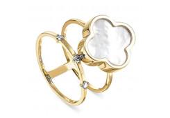 Кольцо из желтого золота 585 пробы с перламутром