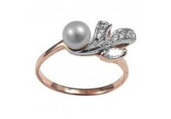 Женские золотые кольца с жемчугом 129899