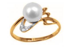 Женские золотые кольца с жемчугом 129904