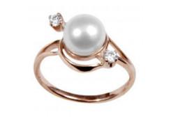 Женские золотые кольца с жемчугом 92646