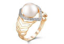 Женские золотые кольца с жемчугом 124839