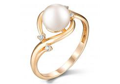 Женские золотые кольца с жемчугом 124850