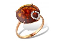 Женские золотые кольца, вставка янтарь 97069