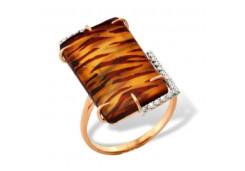 Женские золотые кольца, вставка янтарь 97071