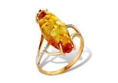Женские золотые кольца, вставка янтарь 101475