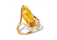 Женские золотые кольца, вставка янтарь 99677